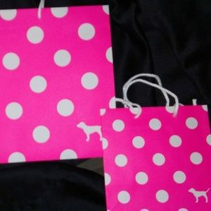 Large and small Pink by Victoria Secret retail bag